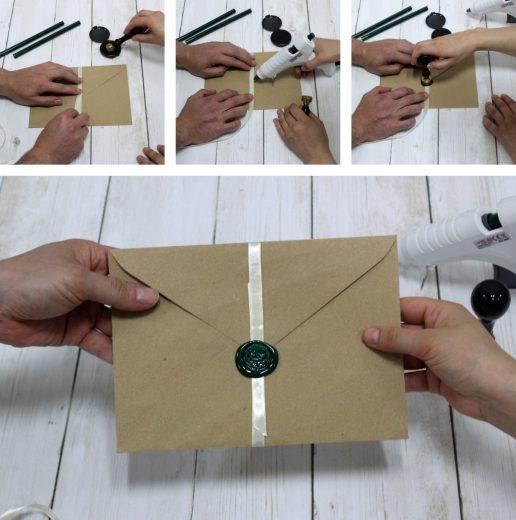 Lacrar paso a paso: colocar la cinta, aplicar la cera y cuñar con el sello de lacre