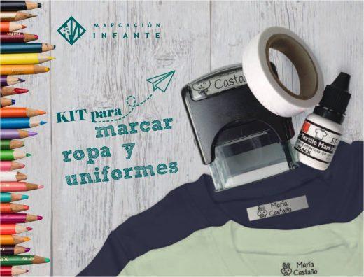 Kit para marcar ropa compuesto por sello automático, bote de tinta y cinte termoadhesiva